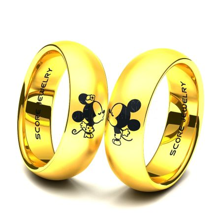 Couple Set 14k Yellow Gold Tungsten Band With Domed Edge Mickey Minnie Mouse Pattern Wedding Ring