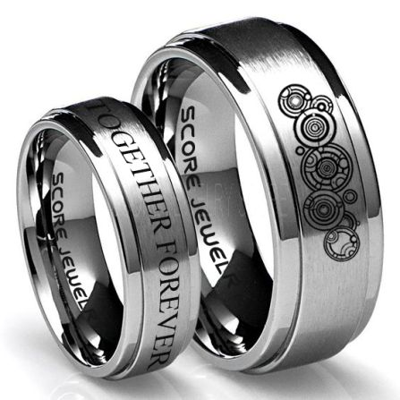 FREE SHIPPING FREE Custom Engraving 2 Piece Couple Set Tungsten Bands Gallifreyan and Together Forever Rings Silver Tungsten Wedding Rings