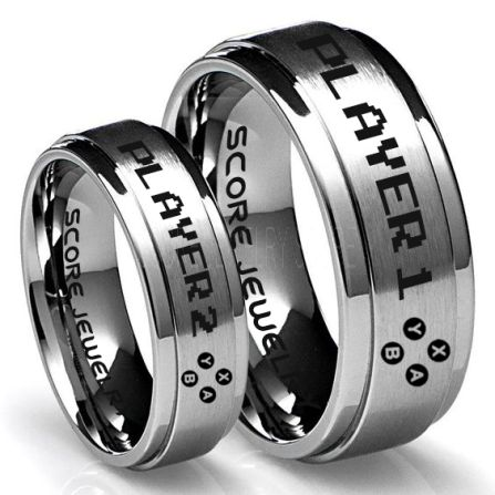 Gamer Rings Playstation Ring Playstation Jewelry Couple Ring Set Player 1 Player 2 Rings Controller Rings Black Gamer Wedding Rings Black Tungsten Gamer Wedding Bands Black Tungsten Rings Black Wedding Bands Gamer Jewelry