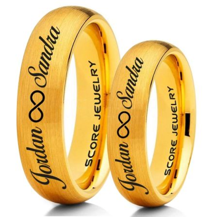 Infinity Couple Rings Matching Couple Wedding Rings Set Couple Wedding Rings Customize Your Names Wedding Bands Always And Forever Jewelry 14k Yellow Gold Tungsten Wedding Ring Yellow Gold Tungsten Rings