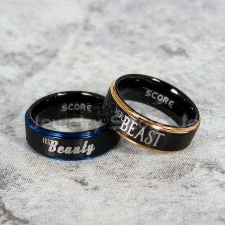 Beauty And Beast Rings Beauty And Beast Wedding Rings Beauty And Beast Matching Rings 2 Piece Couple Set Beauty And The Beast Rings Black Tungsten Rings