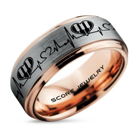 Black Tungsten Rings Piano Rings Music Rings Piano Jewelry 2 Piece Couple Set Black Tungsten Bands with Step Edge and Piano Key Pattern