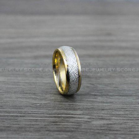 FREE SHIPPING CUSTOM Engraved 4mm Yellow Gold Tungsten Meteorite Wedding Band Tungsten Meteorite Ring with Imitation Meteorite Texture Inlay