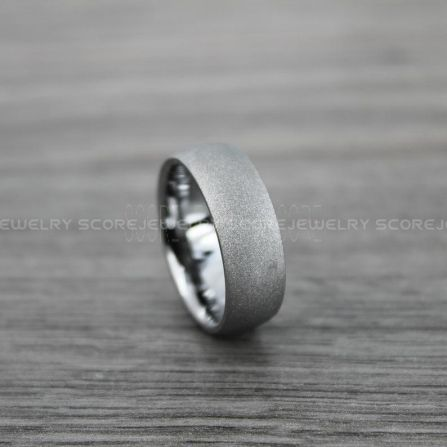 FREE SHIPPING Custom Engraved 2 Piece Couple Set 8mm /& 6mm Tungsten Bands with Domed Edge Sandblasted Finish Tungsten Wedding Bands