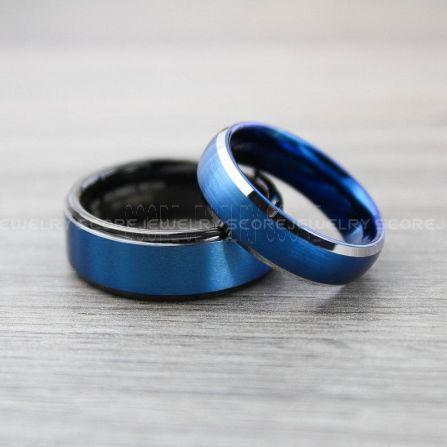Blue Tungsten Ring Blue Wedding Ring 8mm Blue Tungsten Wedding Band with Blue Step Edge Blue Wedding Band Classic Blue Tungsten Ring