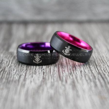Nautical Rings Ship Wheel Rings Anchor Rings 2 Piece Couple Set Anchor Wedding Rings Black Wedding Bands Black Tungsten Bands Black Wedding Rings Black Tungsten Wedding Rings