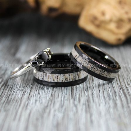 Deer Antler Rings Antler Rings Black Wedding Bands Black Hammered Tungsten Bands Black Wedding Rings Black Tungsten Wedding Rings