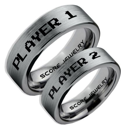 Gamer Rings Couple Ring Set Player 1 Player 2 Rings Silver Gamer Wedding Rings Silver Tungsten Gamer Wedding Bands Silver Tungsten Rings Silver Wedding Bands Gamer Jewelry