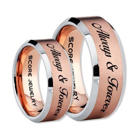 Black Wedding Rings Black Tungsten Wedding Bands Black Tungsten Rings Black Wedding Bands 2 Piece Couple Set Always /& Forever Rings